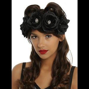 Black Skull Flower Crown